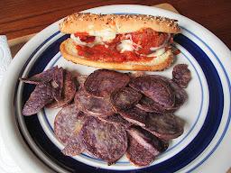 Meatball sandwich with home grown purple potatoes.