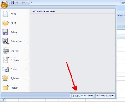 Excel - acesso ao menu opcoes
