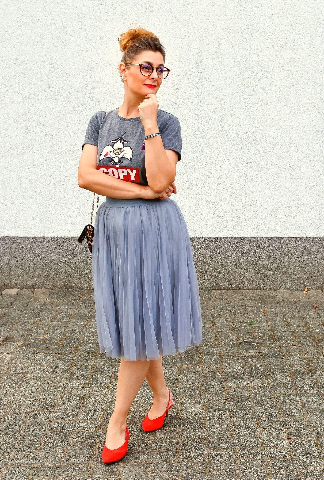 Tüllrock-Outfit-Grau