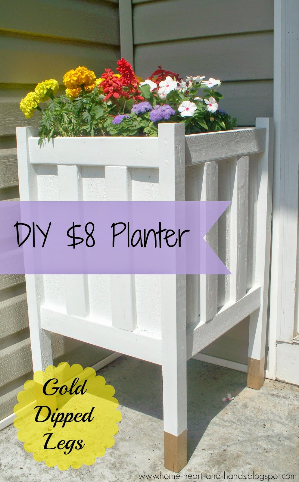 home heart and hands diy front porch planter with gold dipped legs. Black Bedroom Furniture Sets. Home Design Ideas
