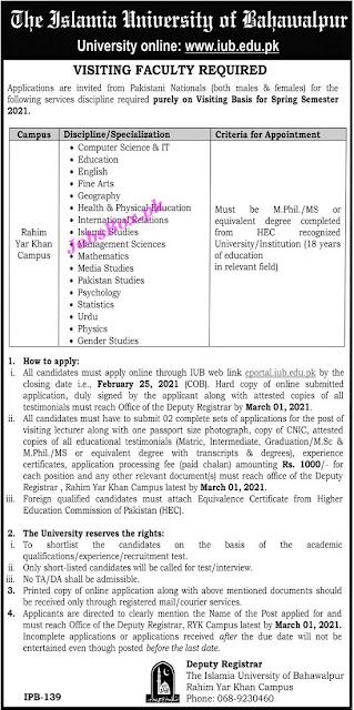 islamia-university-of-bahawalpur-iub-rahim-yar-khan-campus-jobs-2021-apply-online