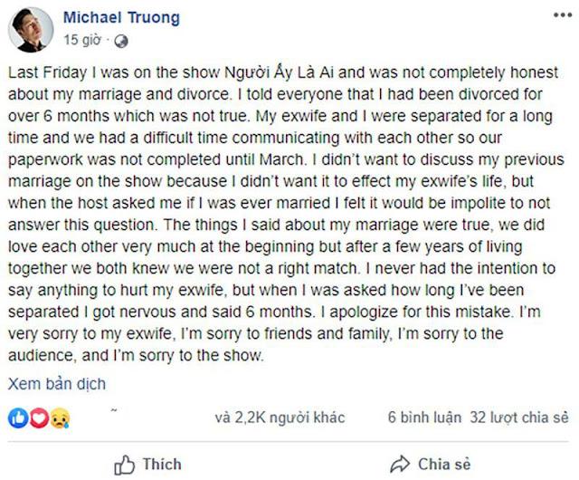 Sau khi xin lỗi vợ cũ vì bị tố lăng nhăng, Michael Trương lại tiếc nuối vì nữ chính Hoa hậu không chọn mình