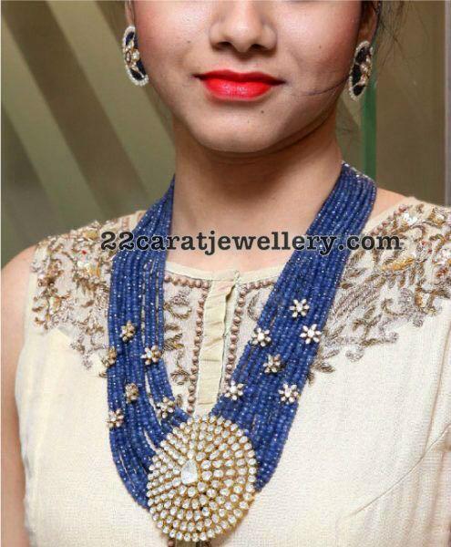 Blue Sapphires Beads Set with Diamond Locket