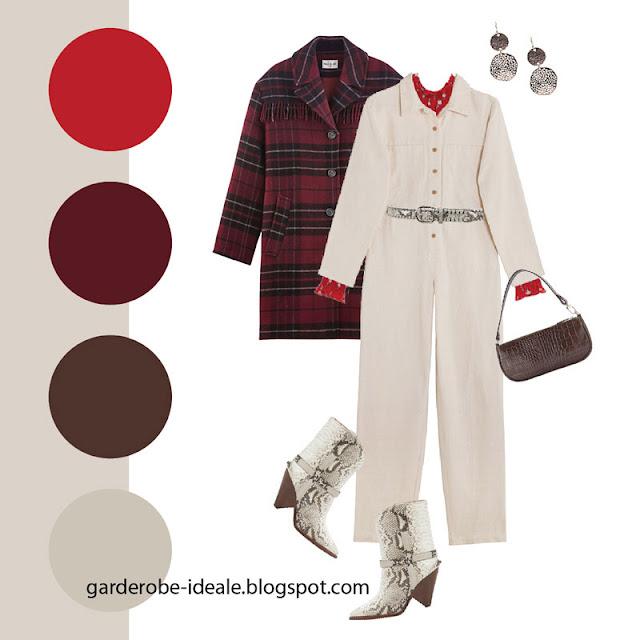 Бежевый рабочий комбинезон с клетчатым пальто с бахромой, красной блузкой и сапогами ковбоя