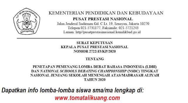 sk daftar pemenang ldbi nsdc tingkat nasional jenjang sma ma tahun 2020 pdf tomatalikuang.com