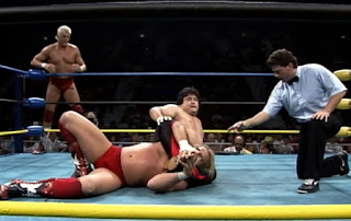 WCW Great American Bash 1992 - Shinya Hashimoto works on Barry Windham