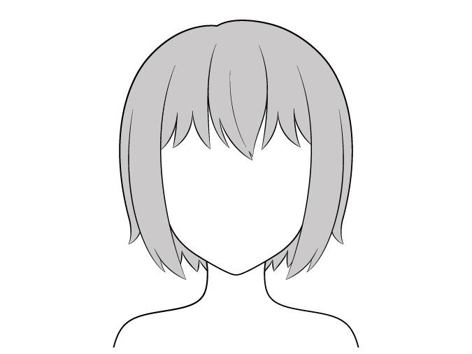 Rambut anime tidak ada highlight