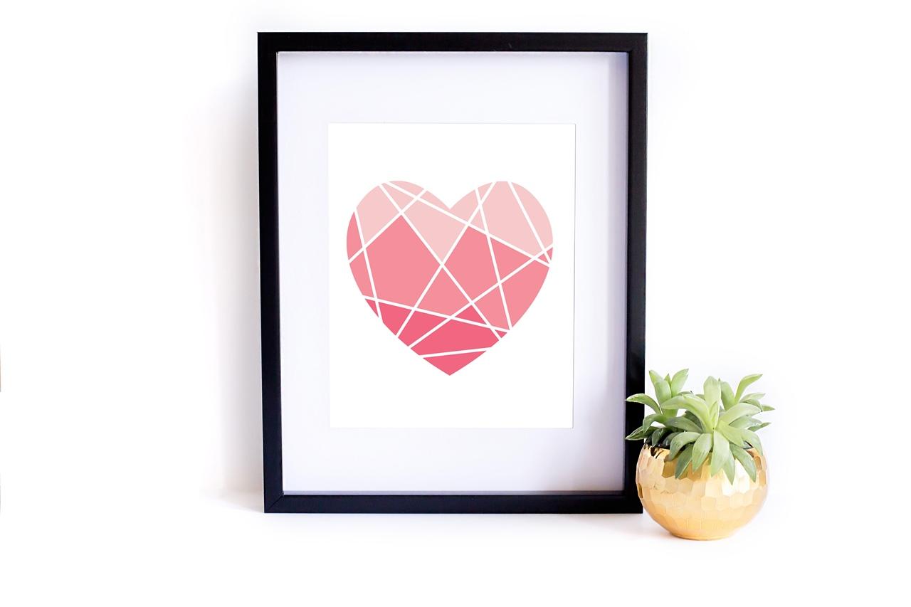 Miłosny plakat do druku do pobrania Pretty Providence - Geometryczne serce