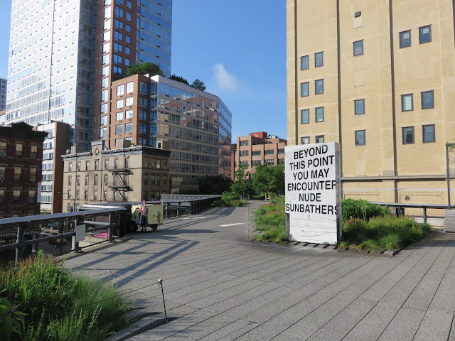 Art Exhibit on the High Line in New York City - Beyond this Point You May Encounter Nude Sunbathers