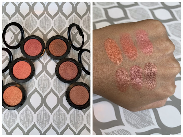MAC Extra Dimension Blush Swatches (Telling Glow, Cheeky Bits, Sweets For My Sweet, Hushed Tone, Faux Sure!, Hard To Get)