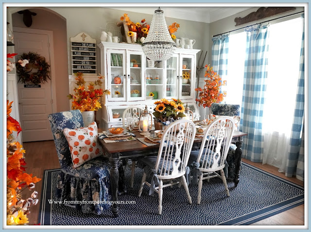 Farmhouse Cottage Style Fall Dining Room-From My Front Porch To Yours