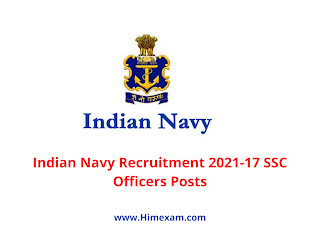 Indian Navy Recruitment 2021-17 SSC Officers Posts