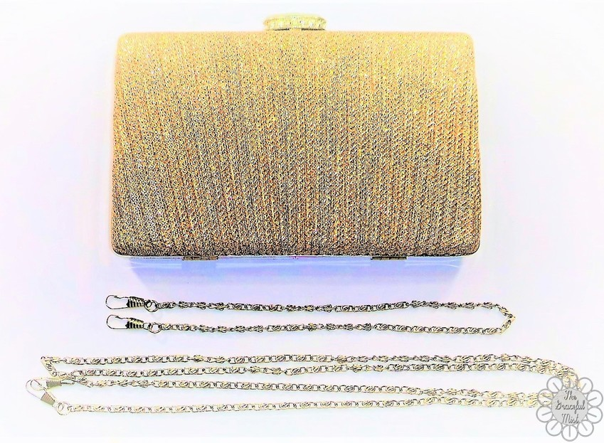 RoseGal Review by @TheGracefulMist (www.TheGracefulMist.com) - Beauty, Fashion and Lifestyle Blog - Online Shopping - RoseGal.com - Glittering Clip Rhinestone Chains Pleated Evening Bag Light Gold