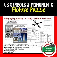 US Symbols and Monuments, Civics Test Prep, Civics Test Review, Civics Study Guide, Civics Interactive Notebook Inserts, Civics Picture Puzzles