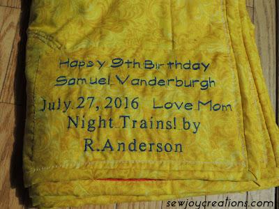 birthday quilt label