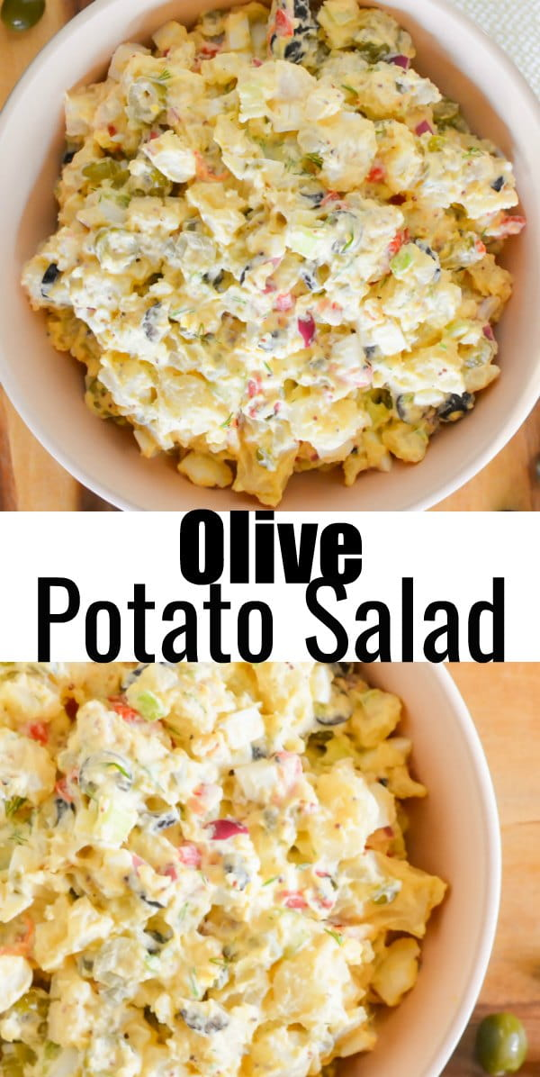 Olive Potato Salad is a delicious variation of traditional Potato Salad for Picnic and Barbecue Side Dish Recipe. Sweet and tangy with ripe green and black olives with spicy garlic dill pickles from Serena Bakes Simply From Scratch.
