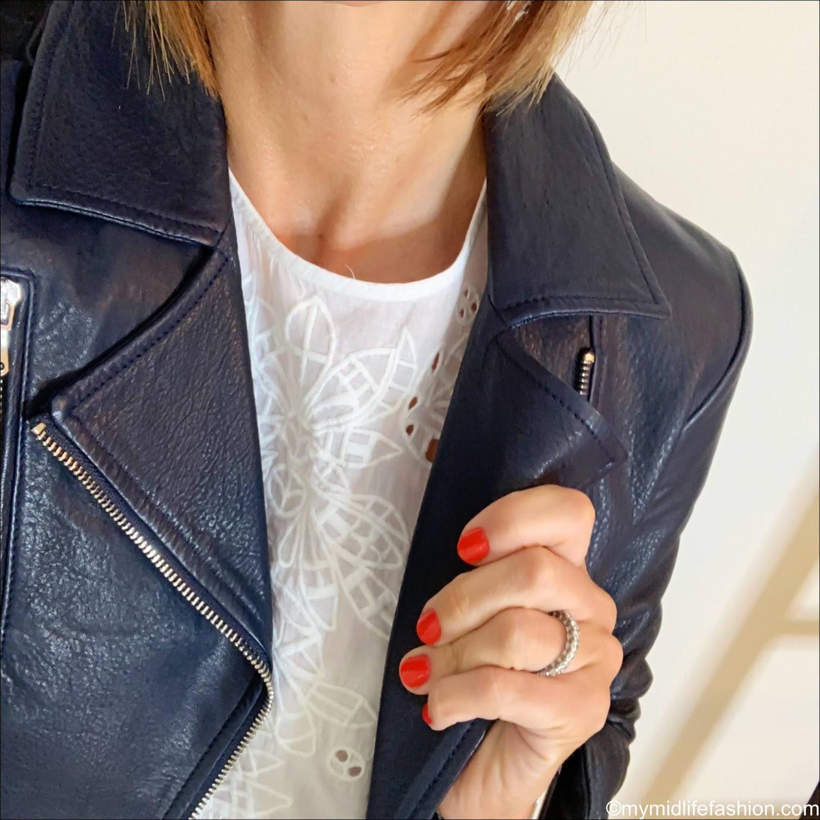 my midlife fashion, Massimo dutti leather biker jacket, Zara embroidered blouse, j crew cropped kick flare jeans, Sarah Haran hazel boho tote, Susana Cabrera Marta media luna