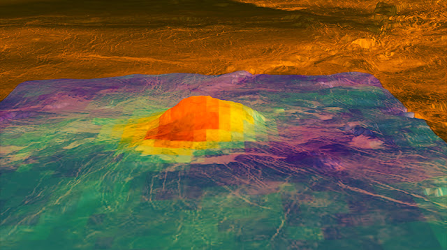 This figure shows the volcanic peak Idunn Mons (at 46 degrees south latitude, 214.5 degrees east longitude) in the Imdr Regio area of Venus. The colored overlay shows the heat patterns derived from surface brightness data collected by the Visible and Infrared Thermal Imaging Spectrometer (VIRTIS), aboard the European Space Agency's Venus Express spacecraft