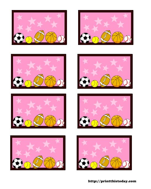 Deportes: Etiquetas Editables en Fondo Rosa para Descargar Gratis.