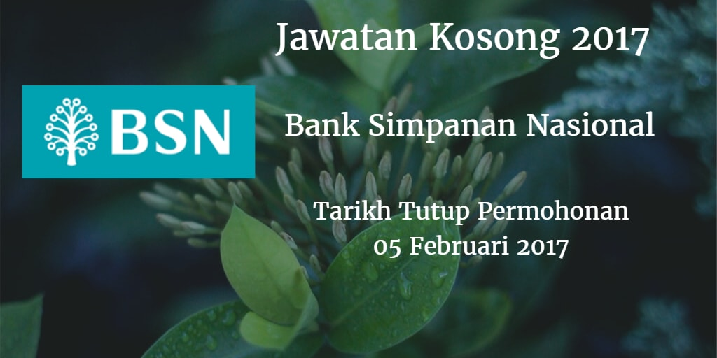 Jawatan Kosong BSN 05 Februari 2017