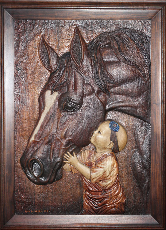 Bas relief and wood carving by dyke roskelley art