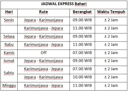 info jadwal kapal express jepara karimunjawa paling baru