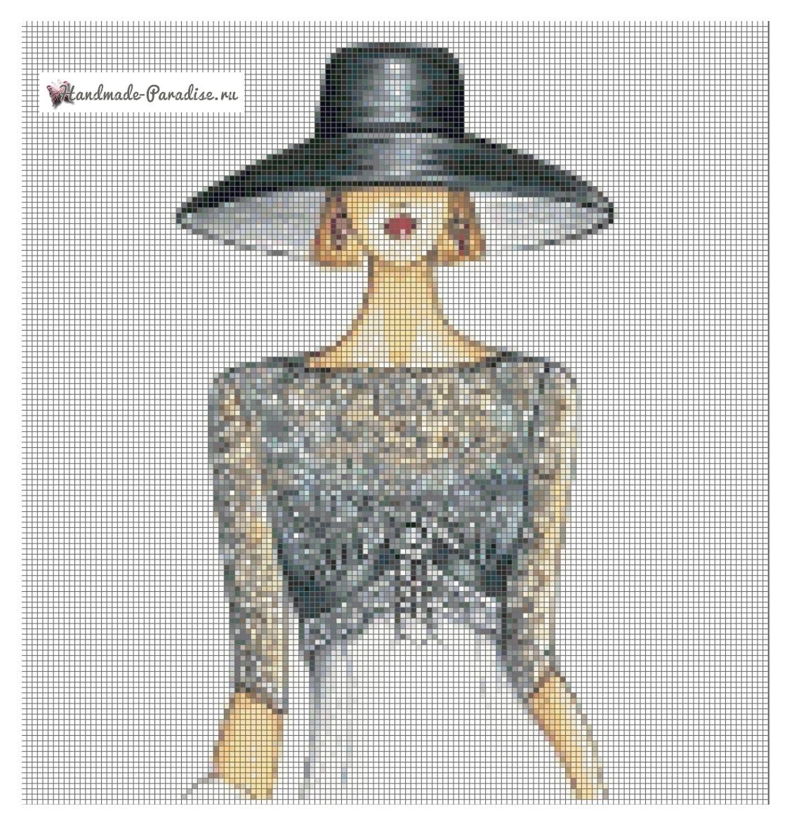 Дама в шляпке - схемы вышивки крестом (1)