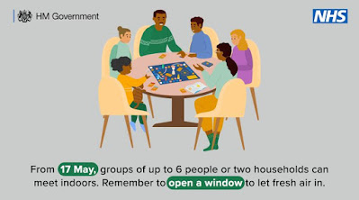 From 17th May you can meet up indoors Picture of 6 people sitting around a table