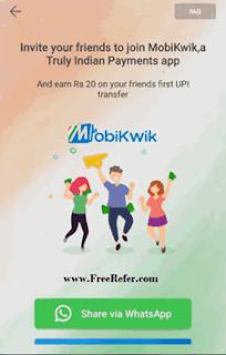 Mobikwik UPI refer and earn