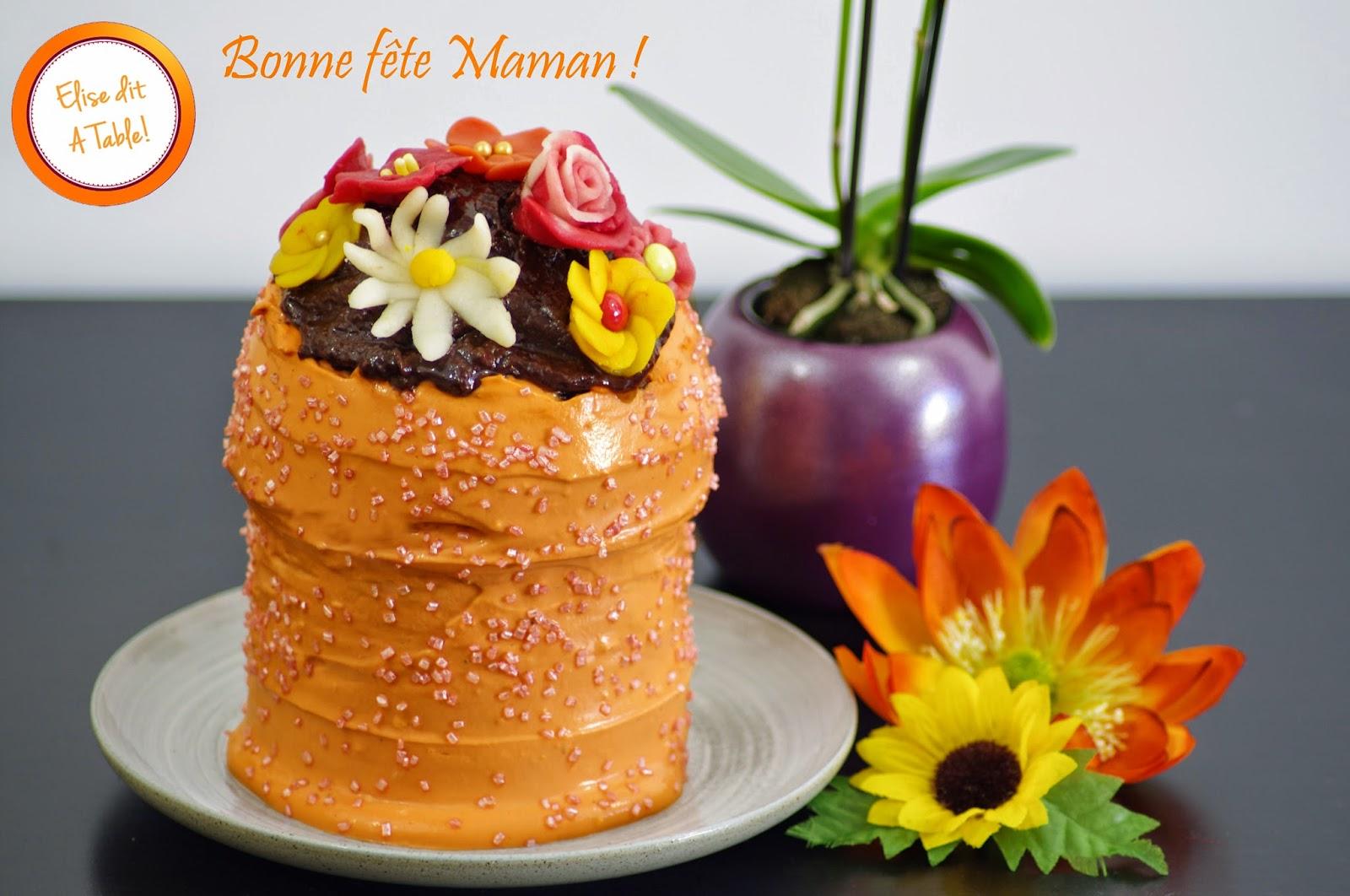 Recette g teau pot de fleurs pour la f te des m res blog cuisine - Gateau fete des meres ...
