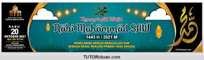 spanduk banner maulid nabi 1443 H 2021  cdr psd lengkap - kanalmu