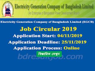 Electricity Generation Company of Bangladesh Limited (EGCB) Job Circular 2019