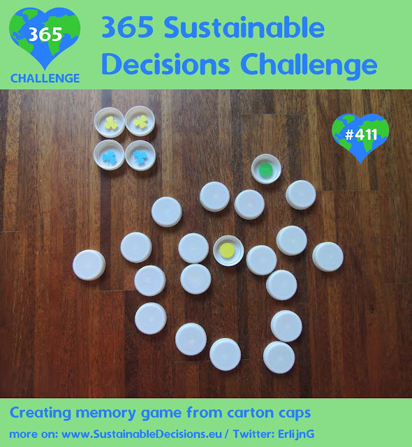 Picture of milk carton caps with different forms in them used as memory game