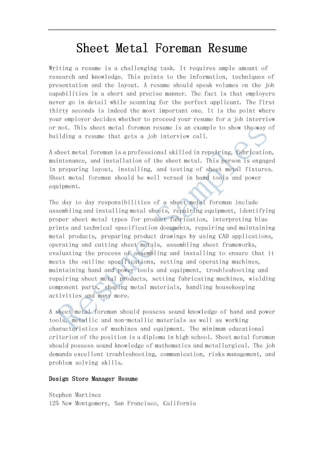 Sheet Metal Foreman Wanted Skilled Trades Artisan Resume Samples Sheet Metal Foreman Resume