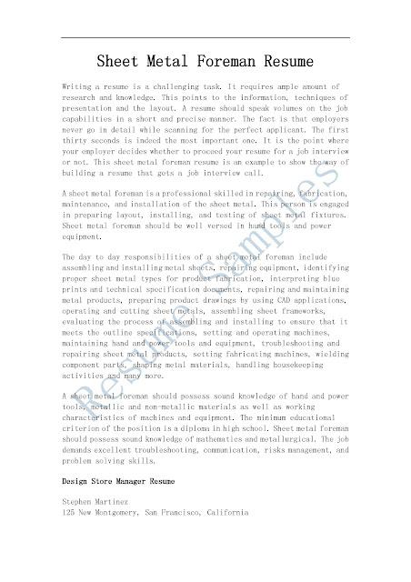 Aircraft Assembler Job Description And Requirements Resume Samples Sheet Metal Foreman Resume