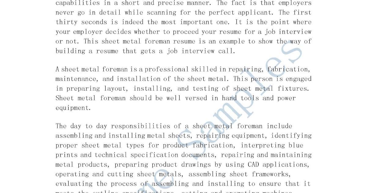 Resume Samples Sheet Metal Foreman Resume - sheet metal resume