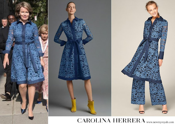 Queen Mathilde wore Carolina Herrera Blue Lace and denim shirt dress
