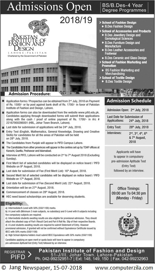 Admissions Open For Fall 2018 At PIFD Lahore Campus