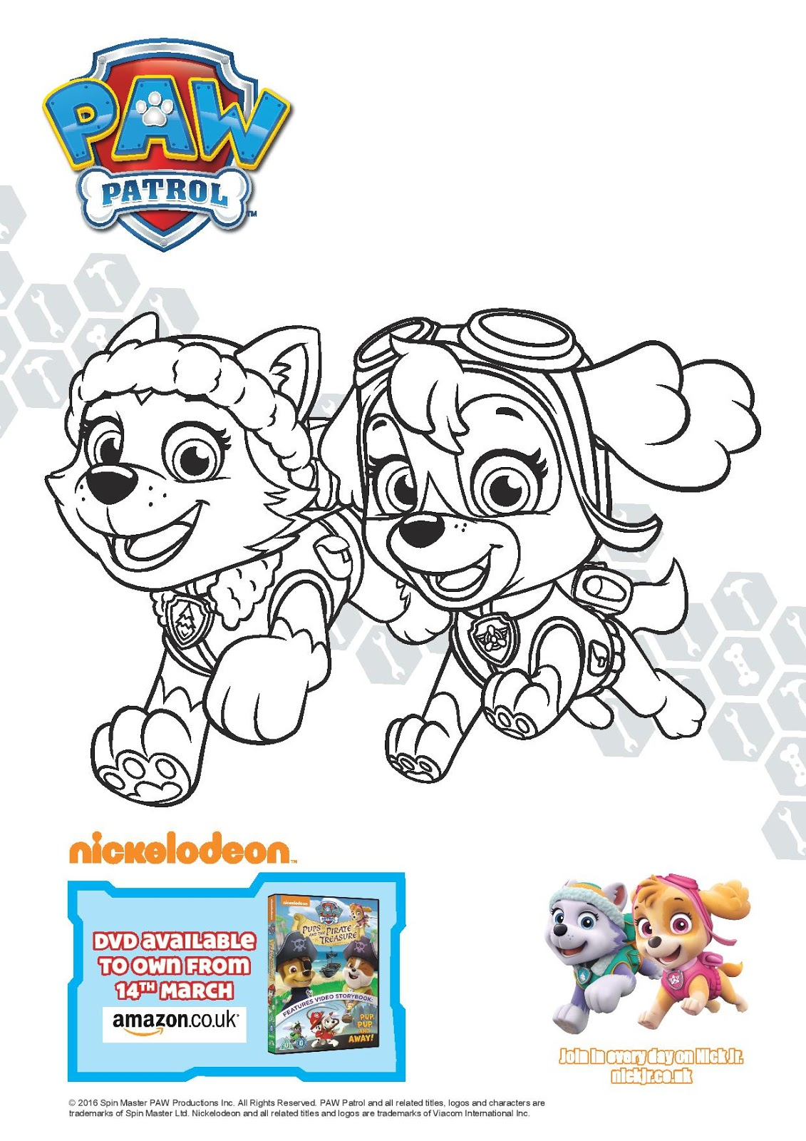 Coloring Pages Of Everest From Paw Patrol : Paw patrol pups and the pirate treasure play learn