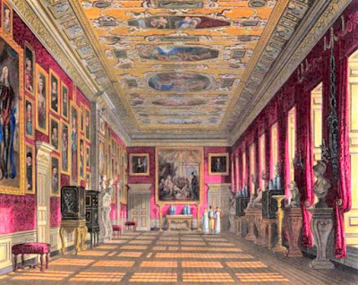 The King's Gallery, Kensington Palace, from The History  of the Royal Residences by WH Pyne (1819)