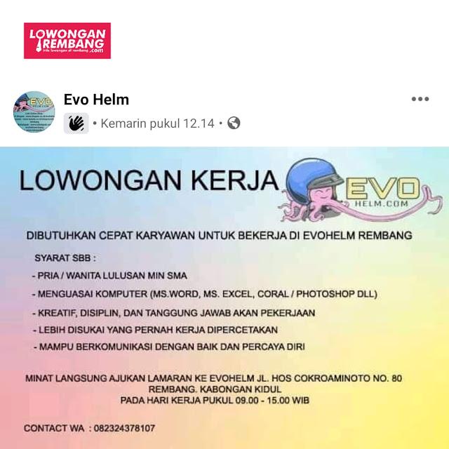 Lowongan Kerja Pegawai Evo Helm Rembang