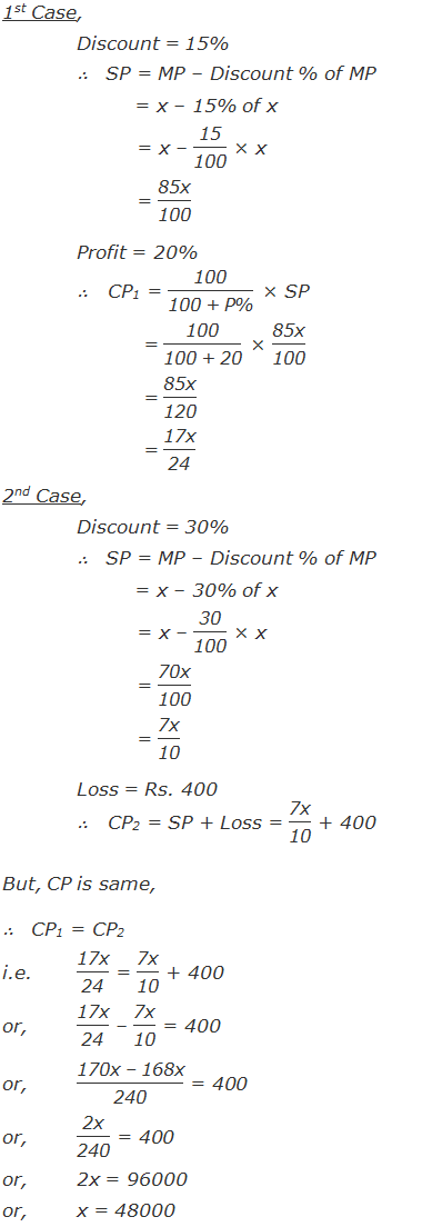 """1st Case, Discount = 15% ∴   SP = MP – Discount % of MP          = x – 15% of x          = x – """"15"""" /""""100""""  × x          = """"85x"""" /""""100""""  Profit = 20% ∴   CP1 = """"100"""" /""""100 + P%""""  × SP            = """"100"""" /""""100 + 20""""  × """"85x"""" /""""100""""             = """"85x"""" /""""120""""             = """"17x"""" /""""24""""   2nd Case, Discount = 30% ∴   SP = MP – Discount % of MP          = x – 30% of x          = x – """"30"""" /""""100""""  × x          = """"70x"""" /""""100""""           = """"7x"""" /""""10""""  Loss = Rs. 400 ∴   CP2 = SP + Loss = """"7x"""" /""""10""""  + 400  But, CP is same, ∴   CP1 = CP2 i.e.""""17x"""" /""""24""""  = """"7x"""" /""""10""""  + 400 or,""""17x"""" /""""24""""  – """"7x"""" /""""10""""  = 400 or,""""170x – 168x"""" /""""240""""  = 400  or,""""2x"""" /""""240""""  = 400 or, 2x = 96000 or,x = 48000"""