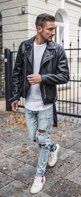 Como usar jaquetas de motoqueiro moda Masculina