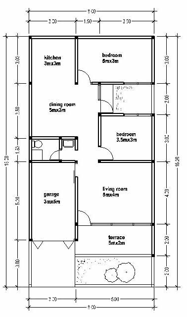 SMALL HOUSE PLAN WIDE 8M - House Affair