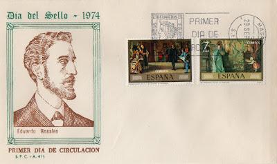 Sobre PDC de la serie del Día del Sello dedicado a Eduardo Rosales en 1974