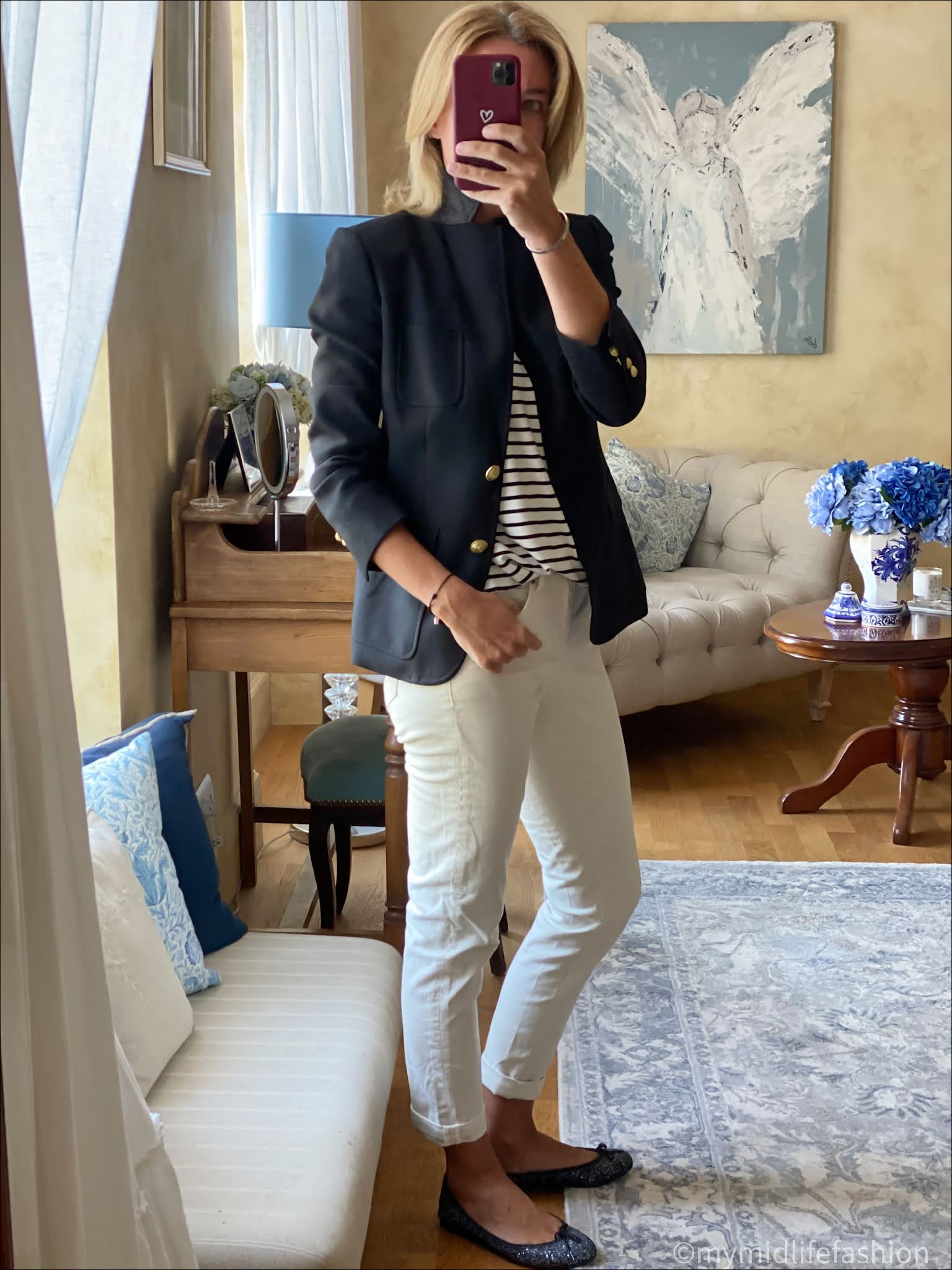 my midlife fashion, bodes girlfriend jeans, j crew blazer, Baukjen stripe t-shirt, French sole India glitter ballet pumps