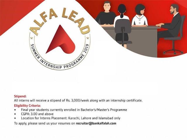 Bank Alfalah Launches Alfa Lead Summer internship Program 2019