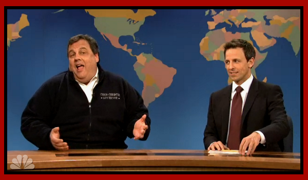 NJ governor Chris Christie and Saturday Night Live's Seth Myers