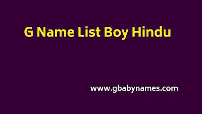 G name list boy Hindu