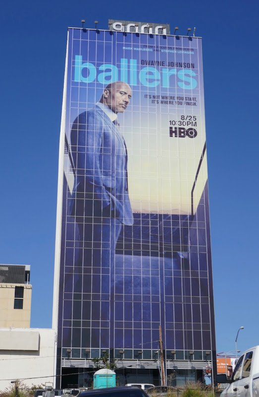 Giant Dwayne Johnson Ballers season 5 billboard